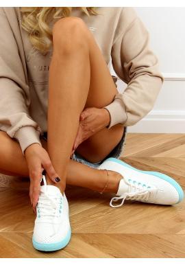 Bílé děrované tenisky s modrými prvky pro dámy