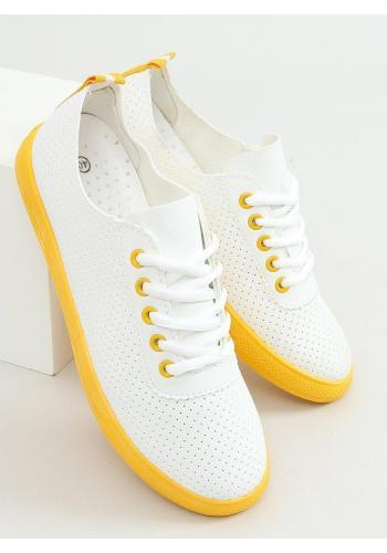 Dámské dírkované tenisky se žlutými prvky v bílé barvě