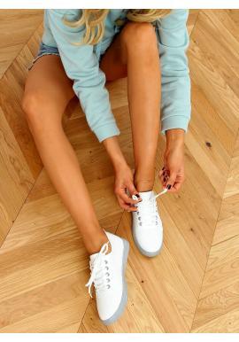 Dírkované dámské tenisky bílé barvy se šedými prvky