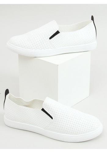 Dírkované dámské tenisky bílé barvy s černými doplňky