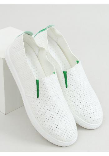 Bílé děrované tenisky se zelenými doplňky pro dámy