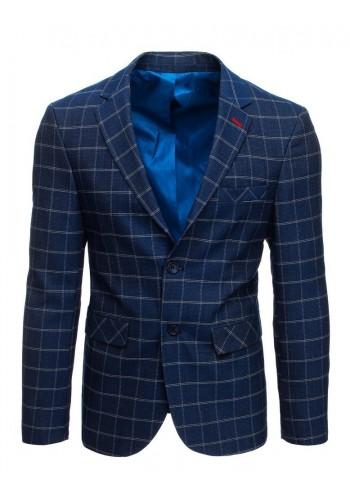 Pánské jednořadé sako s kostkovaným vzorem v tmavě modré barvě