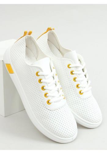Dámské pohodlné tenisky s děrovanou texturou v bílo-žluté barvě