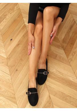 Semišové dámské mokasíny černé barvy s přezkou