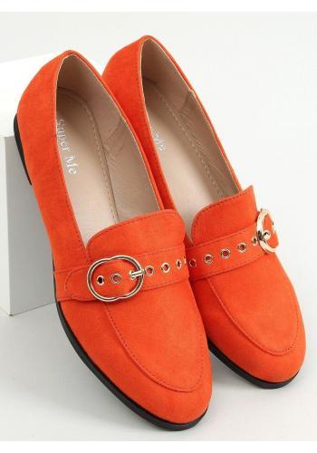 Oranžové semišové mokasíny s přezkou pro dámy