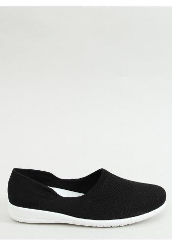 Dámské ponožkové balerínky s ažurovým vzorem v černé barvě