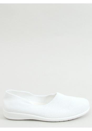 Bílé ponožkové balerínky s ažurovým vzorem pro dámy
