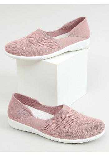 Dámské ponožkové balerínky s ažurovým vzorem v růžové barvě