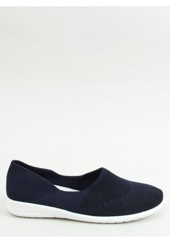 Tmavě modré ponožkové balerínky s ažurovým vzorem pro dámy