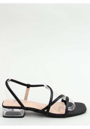 Černé módní sandály na průhledném podpatku pro dámy