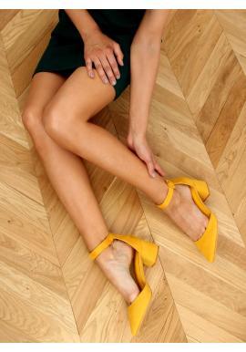 Žluté semišové lodičky na širokém podpatku pro dámy