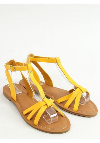 Dámské klasické sandály s plochým podpatkem ve žluté barvě