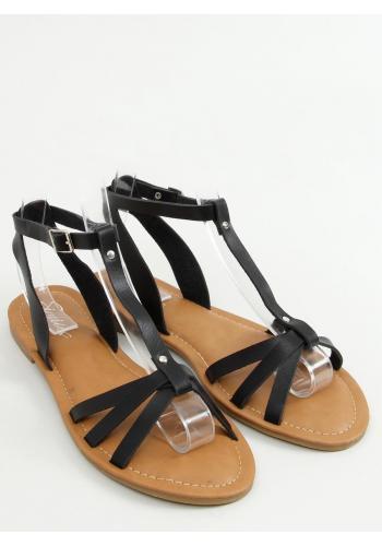 Klasické dámské sandály černé barvy s plochým podpatkem