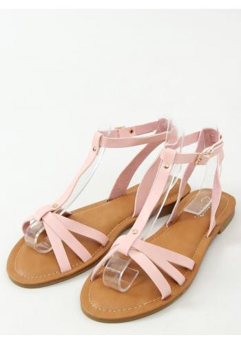 Růžové klasické sandály s plochým podpatkem pro dámy