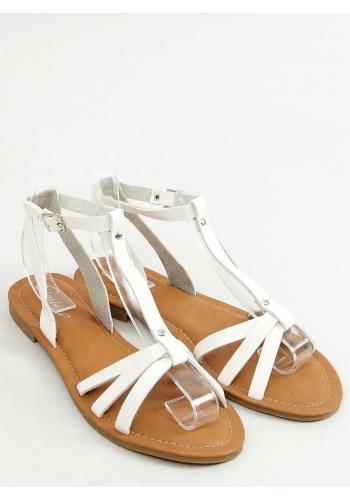 Dámské klasické sandály s plochým podpatkem v bílé barvě
