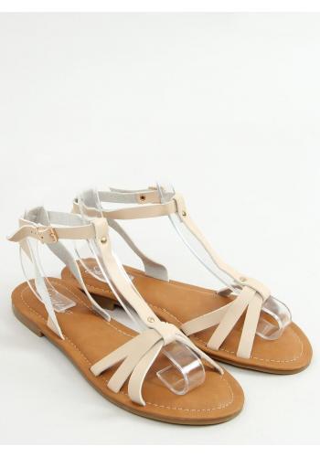 Klasické dámské sandály béžové barvy s plochým podpatkem