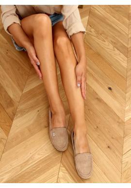 Dámské semišové mokasíny s ozdobou v khaki barvě