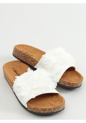 Dámské korkové pantofle s květinami v bílé barvě