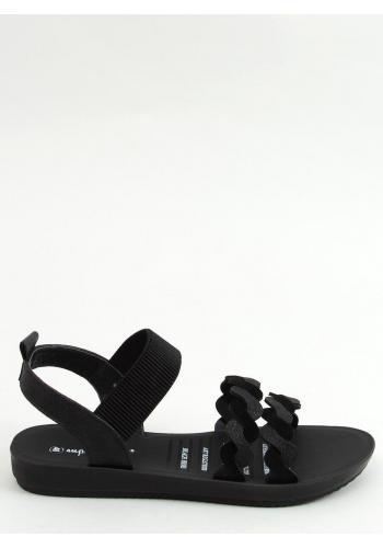 Dámské stylové sandály s pletenými pásky v černé barvě