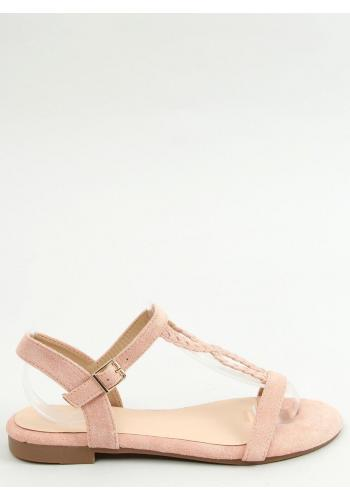 Růžové semišové sandály s plochou podrážkou pro dámy