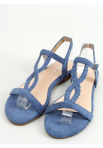 Dámské semišové sandály s plochou podrážkou v modré barvě