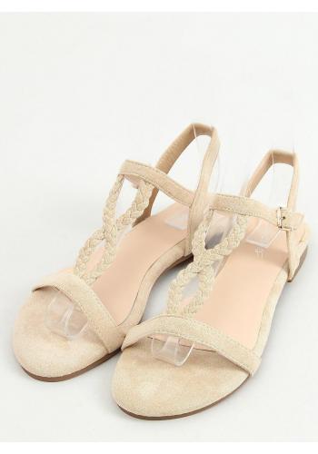 Semišové dámské sandály béžové barvy s plochou podrážkou