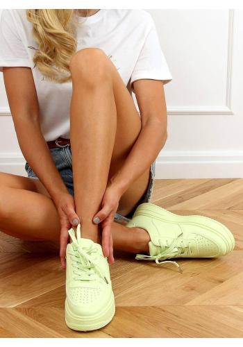 Limetkové sportovní tenisky s vysokou podrážkou pro dámy