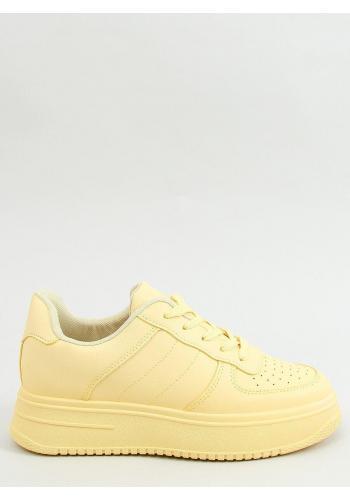 Dámské sportovní tenisky s vysokou podrážkou ve žluté barvě