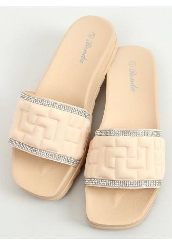 Módní dámské pantofle béžové barvy s kamínky