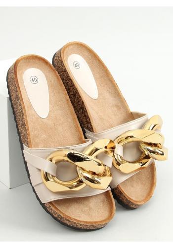 Stylové dámské pantofle béžové barvy s hrubým řetízkem
