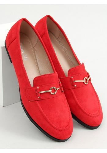Dámské klasické mokasíny s ozdobou v červené barvě