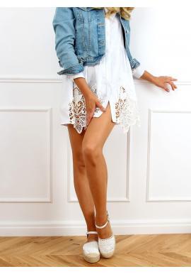 Bílé krajkové espadrilky s vysokou podrážkou pro dámy