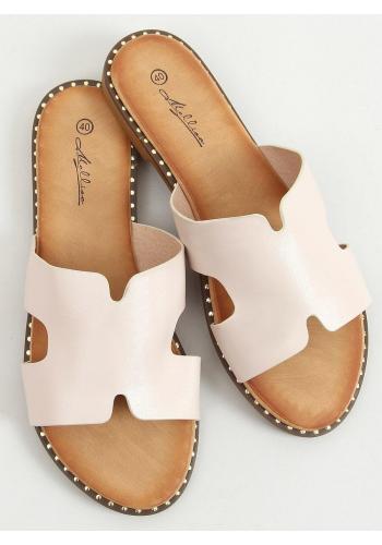 Béžové lícové pantofle s výřezy pro dámy