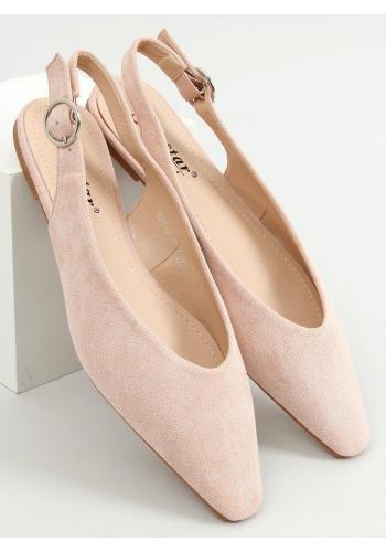 Dámské semišové balerínky s odkrytou patou v růžové barvě
