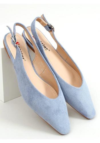 Světle modré semišové balerínky s odkrytou patou pro dámy