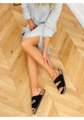 Dámské korkové pantofle s přezkami v černé barvě