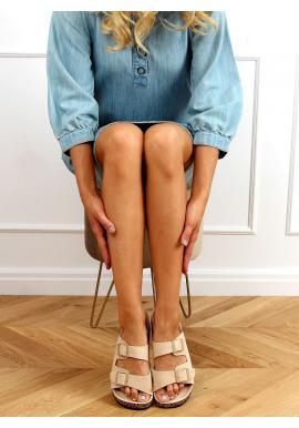 Korkové dámské pantofle béžové barvy s přezkami