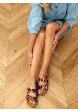 Hnědé korkové pantofle s přezkami pro dámy