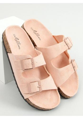 Dámské korkové pantofle s přezkami v růžové barvě