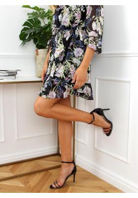 Elegantní dámské sandály černé barvy na štíhlém podpatku