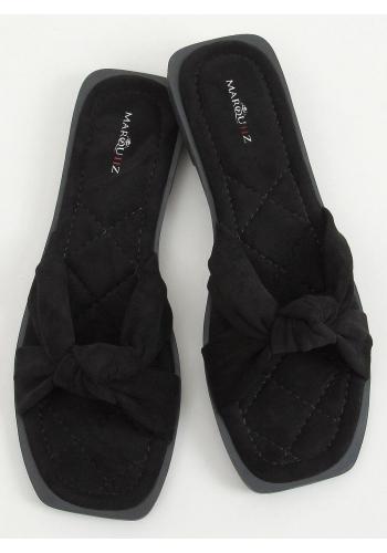 Semišové dámské pantofle černé barvy s překříženými pásky