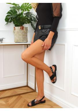 Černé módní sandály s metalickým doplňkem pro dámy