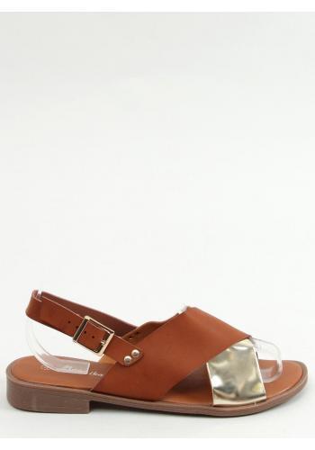 Dámské módní sandály s metalickým doplňkem v hnědé barvě