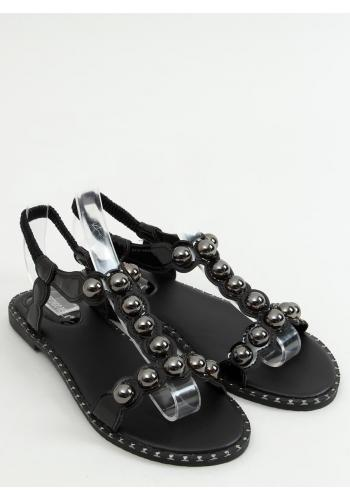 Lakované dámské sandály černé barvy s lesklými kuličkami