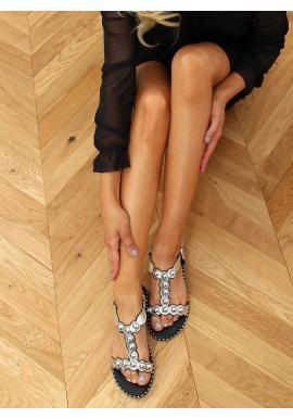 Stříbrné lakované sandály s lesklými kuličkami pro dámy