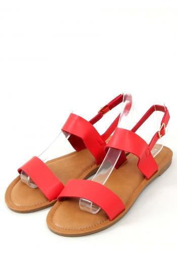 Dámské lícové sandály s plochou podrážkou v červené barvě