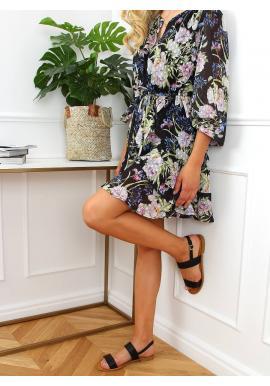 Lícové dámské sandály černé barvy s plochou podrážkou