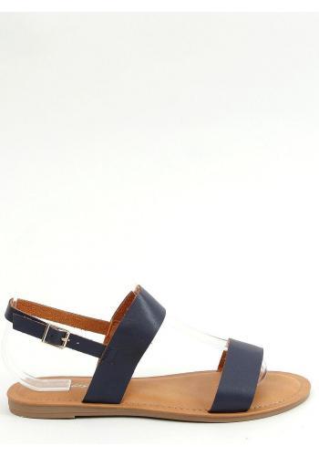 Tmavě modré lícové sandály s plochou podrážkou pro dámy