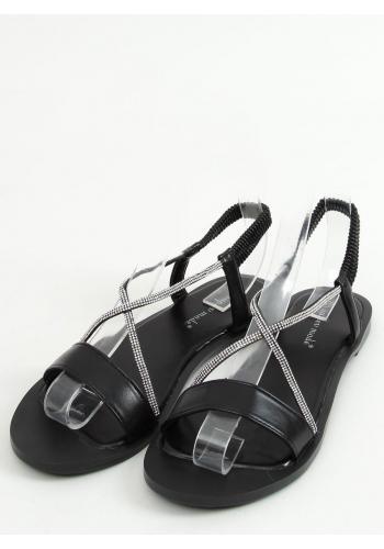 Dámské nazouvací sandály s kamínky v černé barvě