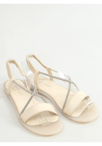 Nazouvací dámské sandály béžové barvy s kamínky